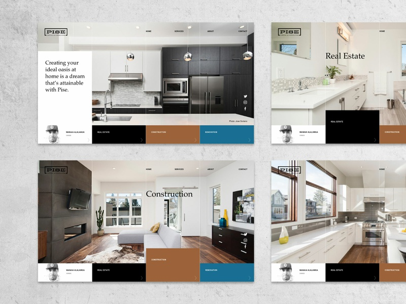 Landing page concept house renovation remodel construction realestate landing design landing  page website homepage