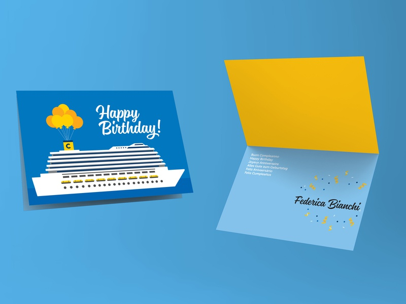 Costa Crociere - Birthday card wave sea baloon share happy costa cruise cruise costa shipping ship blue birthday card birthday card graphicdesign graphics