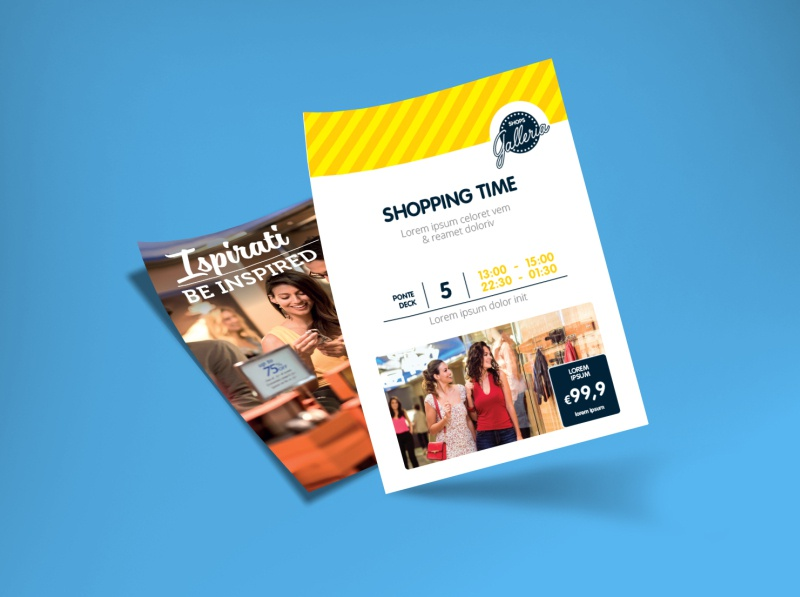 Costa Crociere - Flyer shops template indesign yellow blue photo branding corporate identity graphics brand costa cruise cruise shopping shops shop