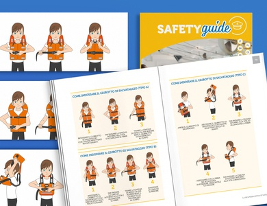 Costa Crociere - Safety Guide illustrator art character design indesign guide costa cruise cruise ship sea ships ship life jacket safety illustration graphics