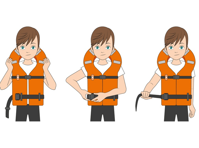 Costa Crociere - Safety Guide movements kid child boy character illustrator guide warning waves sea ocean life jacket jacket safety orange vector illustration design graphics