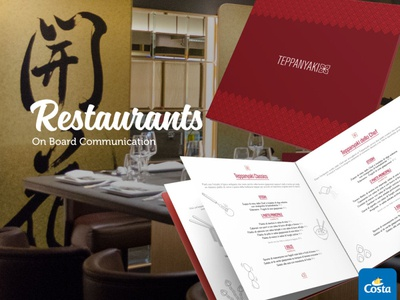 Costa Crociere - restaurants illustration cook cooking onboarding ship restaurant branding menu restaurants restaurant brand branding corporate identity design graphics