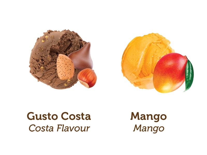 Costa Crociere - Amarillo food outlet chocolate mango outlet cruise ship cruise info ingredients amarillo gelato colorful photoshop art food illustration creative cream icecream food