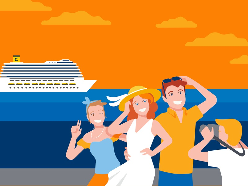Costa Crociere - MyMoments album cruise ship happiness sunglasses sunset orange photoalbum photography photo cruise holiday people illustrator vector design vector art vector illustration design branding corporate identity graphics