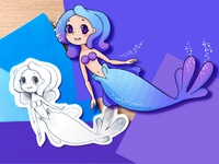 Blue Mermaid - Children illustration cute kawaii manga pantone sketch characterdesign characters violet sparkling sparkle childrens book children girl sfumature shades color adobe illustrator vector illustration