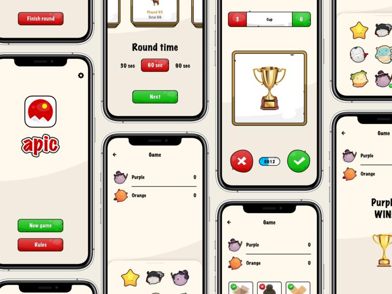 APIC Game - Guess the word kids app cartoon game ui mobile game apic