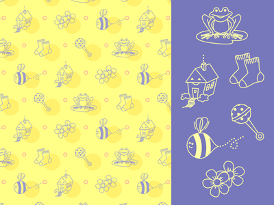 Mariette Icons and Pattern wallpaper bee frog vector illustrator flat repeat illustration background baby icons pattern
