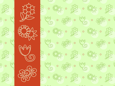 Freya Icons and Pattern polka dot tulip wallpaper vector repeat pattern flower illustration icons flat background
