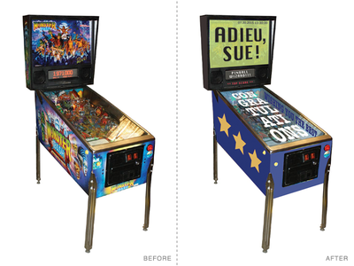 Adieu, Sue! Pinball Illustration digital collage photo illustration before and after pinball mash-up quick illustrator
