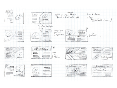 ITD Business Card Sketches business card graphic design pencil branding corporate rough notes options sketches