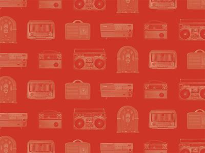 Wallpaper: Radio History photo masking graphic design red pattern photoshop wallpaper wireless radios vintage