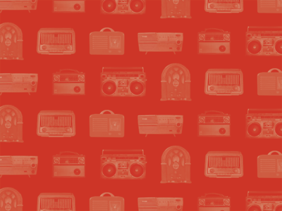 Wallpaper: Radio History photo masking graphic design red pattern photoshop wallpaper wireless radios vintage