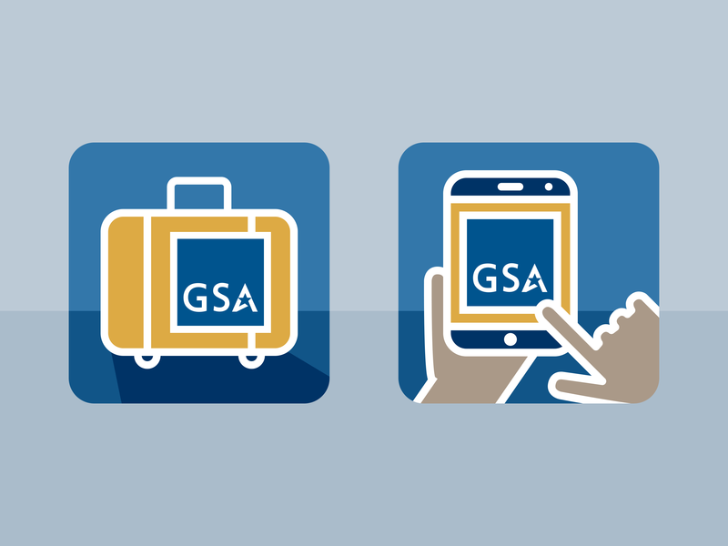 GSA Per Diem and On-the-Go Icons graphic design icon design line art government icons flat vector illustrator