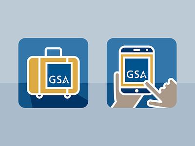 GSA Per Diem and On-the-Go Icons graphic design icon design line art government icons flat vector illustrator