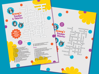 50th Birthday Crossword Puzzle Poster typography flatdesign collage freelance crossword puzzle photoshop illustrator graphic design poster