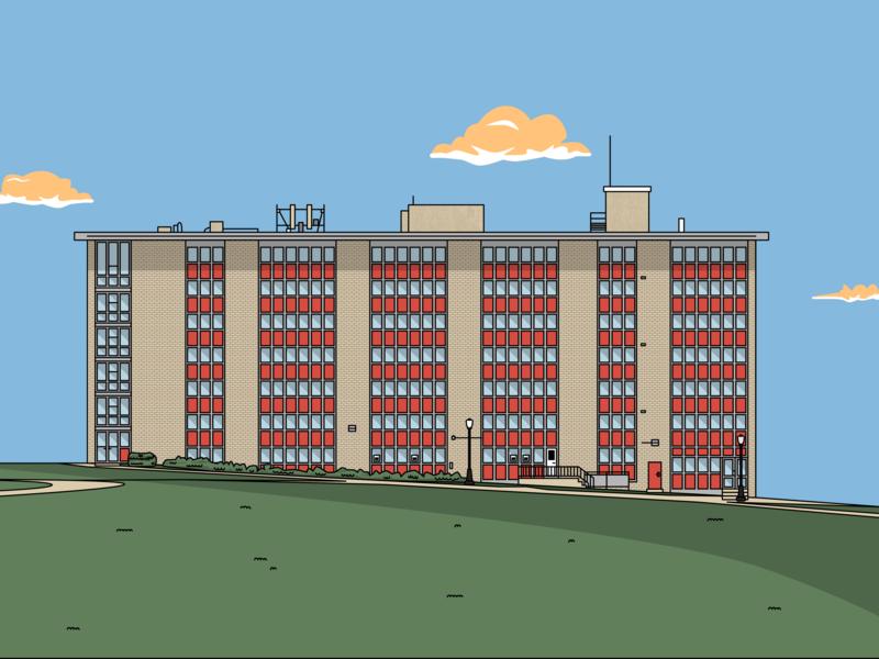 "Montclair State University's ""Freeman Hall"" illustration design college building dorm freeman montclair state msu"