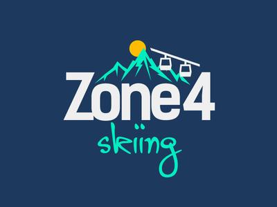 Zone4skiing Logo identity style brand zone skiing ski illustrator vector logo