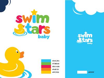 Swimstars Baby Logo vector style star baby duck swiming swim school logo illustrator identity brand