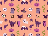 Peachy Orange Halloween Pattern