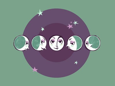 Waxing and Waning space stars illustration vector lizzelizzel plenilune moon