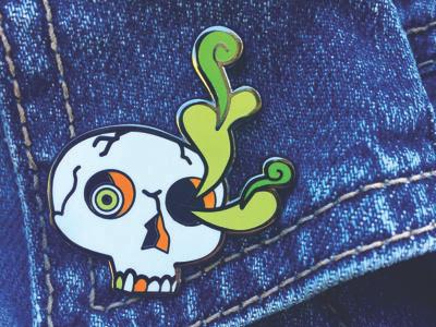Ectoplasm Skull enamel pin design ghost ectoplasm skeleton jewelry accessory negamidas lizzelizzel enamel pin skull design