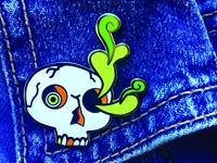 Ectoplasm Skull enamel pin design