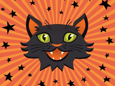 Halloween Cat vector trick or treat black cat holiday kitty cat orange halloween