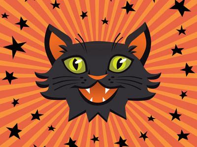 Halloween Cat vector trick or treat black cat holiday kitty cat orange halloween