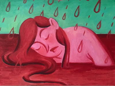 Depletion Oil Painting red sea blood sea sea rain painting oil painting red