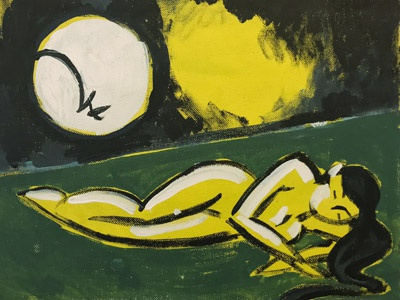To Sleep oil painting odalisque yellow sky green night sky landscape sleep moon oil painting nocturne oil painting