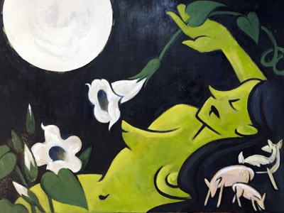 Crepuscular Bodies oil painting painting night blooming doe nocturne night deer woman green moonflower datura moon oil painting