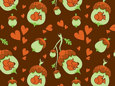 Repeating Acorn Pattern nature hearts autumn nut tree fall brown acorn squirrel