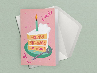 Birthday Card food candle pink lizzelizzel party event hoilday cake stationery mockup birthday vector greeting card illustration