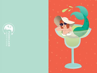 Margarita Mermaid - Summer Vacation Card invitation summer party drink vacation mermaid cocktail margarita summer holiday lizzelizzel vector greeting card illustration