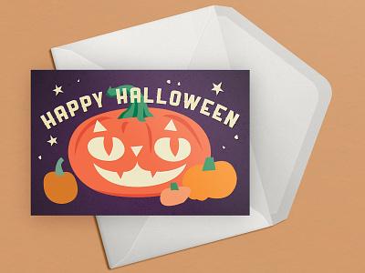 Cat o' Lantern Halloween Card elizabeth virginia levesque squash kitty cat trick or treat night sky pumpkin jack o lantern samhain autumn holiday halloween illustration vector lizzelizzel greeting card