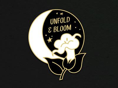 Moonflower Enamel Pin Mock accessory mockup elizabeth virginia levesque bloom stars night sky flower moon moonflower enamel pin vector branding design lizzelizzel illustration