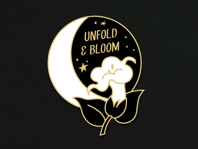 Moonflower Enamel Pin Mock accessory mockup elizabeth virginia levesque bloom stars night sky flower moon moonflower enamel pin vector branding design lizzelizzel illustration