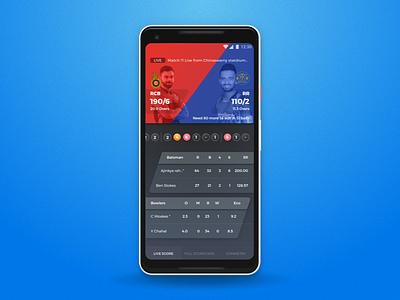 Ipl Scorecard android app scorecard cricket app sports app ux design ui design