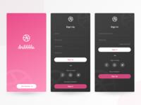 Dribbble SignIn/Up screens design concept