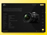 Landing page design for Nikon Z Series