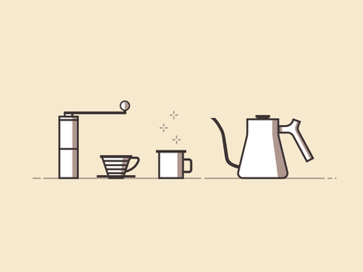 Coffee Pour Over Kit graphic design outline monochrome tone sketch illustration flat table simplistic simple morning dripper kettle grinder mug object bold line pourover coffee