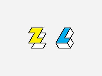 Papercraft Logos paper letter triangle cmyk branding brand vector graphic  design logo l z