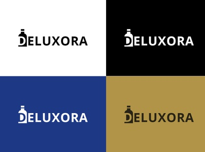 Deluxora Logo Design logodesign design bottle label perfume bottle perfume bottle concept logo design ui vector illustration photoshop logo