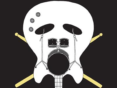 Rock music instrument black drums guitare music skull rock