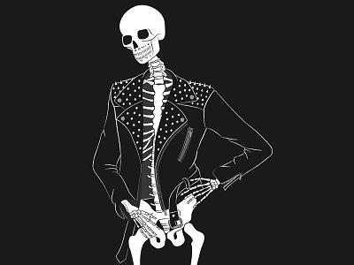 Stay stylish illustration black and white model bones punk rock leather jacket fashion death skull skeleton