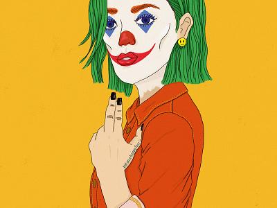 Joker girl - Put on a happy face happy smile villain dc comics makeup female portrait clown joker illustration