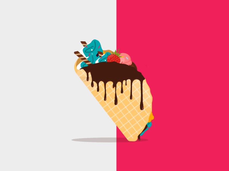 Taco ice cream character ux ui mobile illustration design vector flat