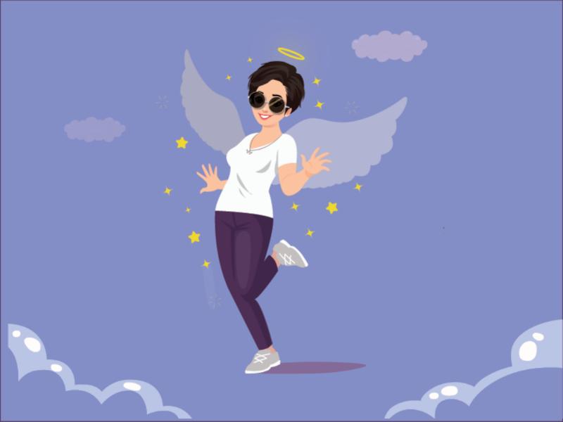 Angel girl illustrator character logo motion mobile design ui fashion girl