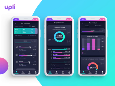 Mobile UI Design - Personalized Budget Dashboard personalization animation web design digital agency web design agency reminder app bar graph pie chart chart iconography graphics bold color mobile app design fintech branding fintech app financial dashboard animation design animation 2d