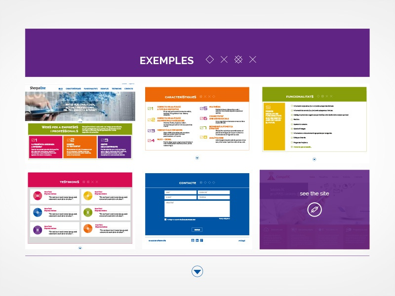 Examples section sample colorful ux ui site